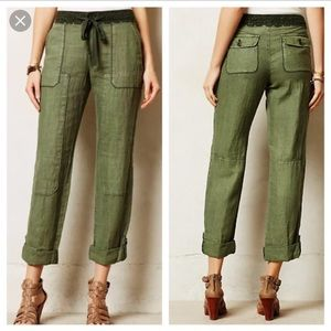 Anthropologie Hei Hei laced linen cargo pants